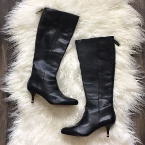 Coach Tall Leather Back Zipped Dress Boots 6.5